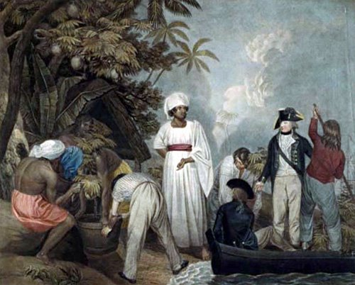 William Bligh overseeing the transplantation of breadfruit trees from Tahiti. Painted and engraved by Thomas Gosse. London, 1796.