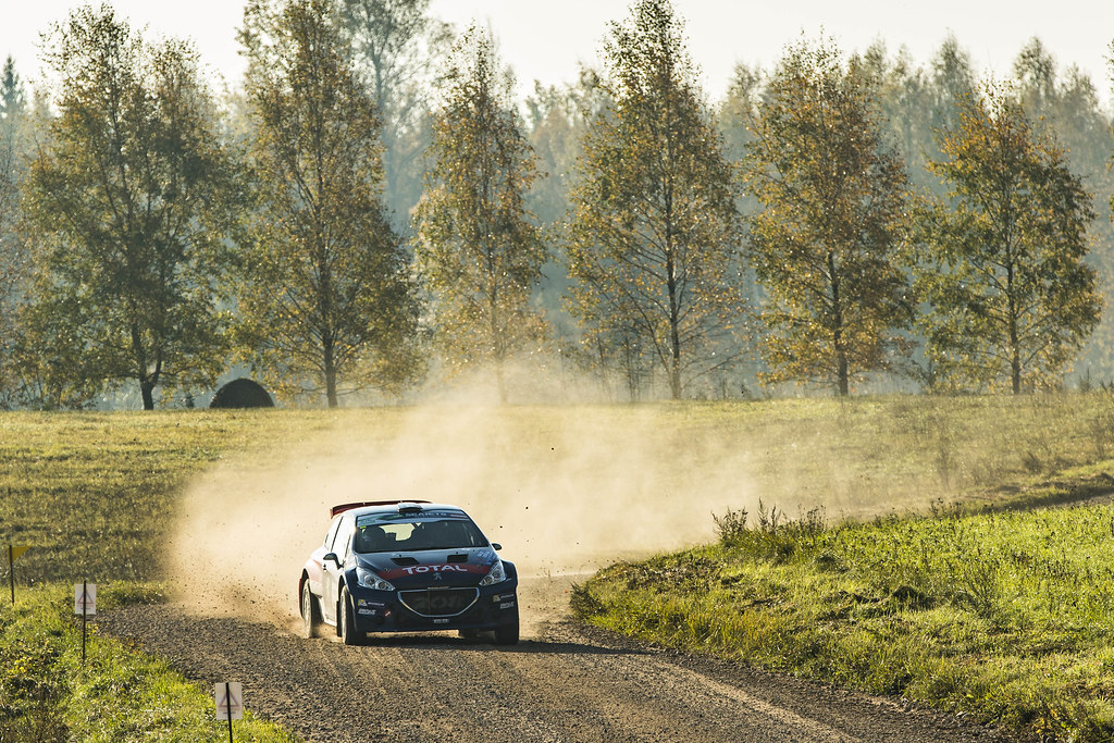 16 PELLIER Laurent, (FRA), Geoffrey COMBE, (FRA), Peugeot Rally Academy, Peugeot 208 T16 R5, Action during the 2018 European Rally Championship ERC Liepaja rally,  from october 12 to 14, at Liepaja, Lettonie - Photo Gregory Lenormand / DPPI