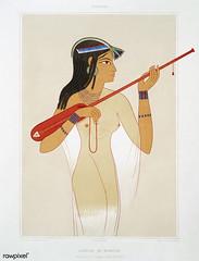 Mandore player from Histoire de l'art égyptien (1878) by Émile Prisse d'Avennes (1807-1879). Digitally enhanced by rawpixel.
