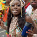 DSC_8568 Notting Hill Caribbean Carnival London Exotic Colourful Gold and Blue Costume Girls Dancing Showgirl Performers Aug 27 2018 Stunning Ladies