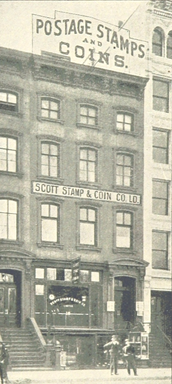 The Scott Stamp & Coin Company Limited at 18 East 23rd Street, New York City in 1893.