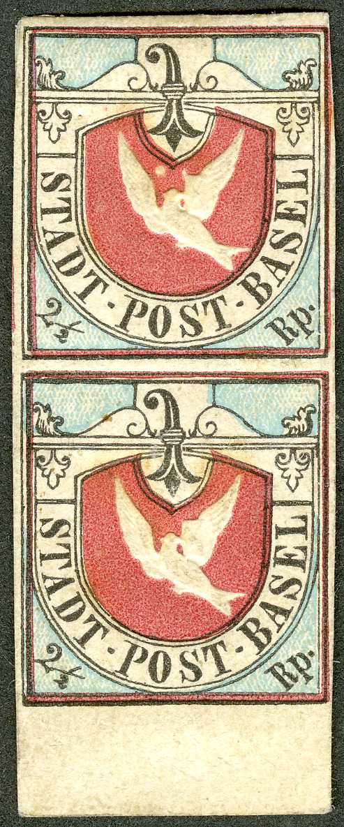 Unused pair of the Basel Dove, 1843. Held in the collection of the British Library.
