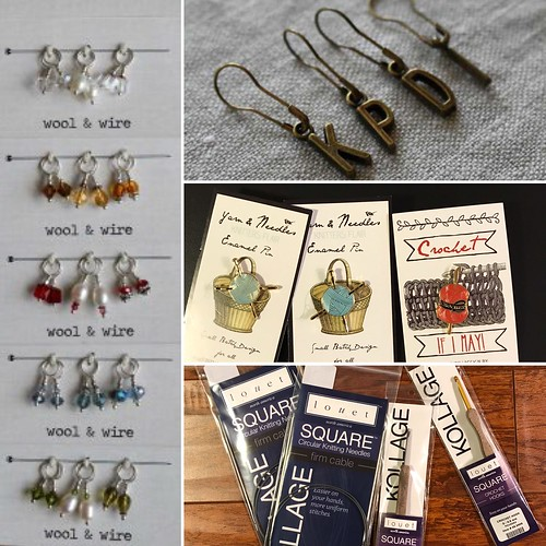 New!! Wool & Wire Fall Mini Stitch Markers, Letter Stitch Markers, Yarn and Needles (Knit) and Crochet Enamel Pins, and Kollage Square Circular Needles (firm cord) and Square Crochet Hooks