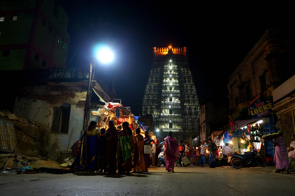 Nighttime in the Colourful Streets - Tirupati, Andhra Pradesh, India