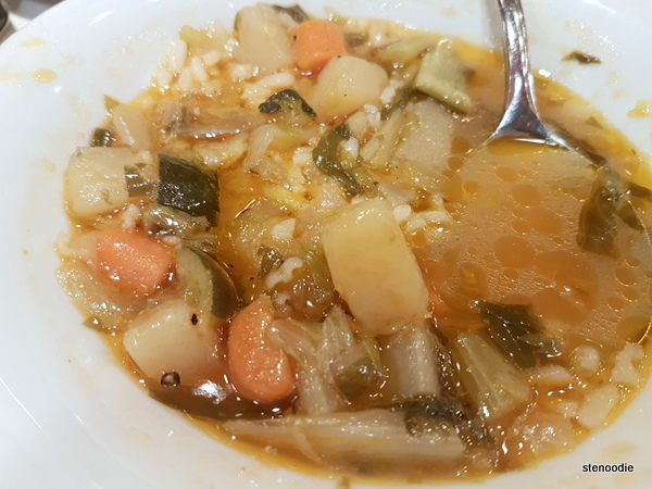 minestrone soup with rice and vegetables