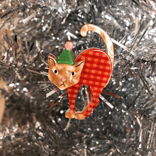 Erstwilder Noel the Festive Feline Brooch