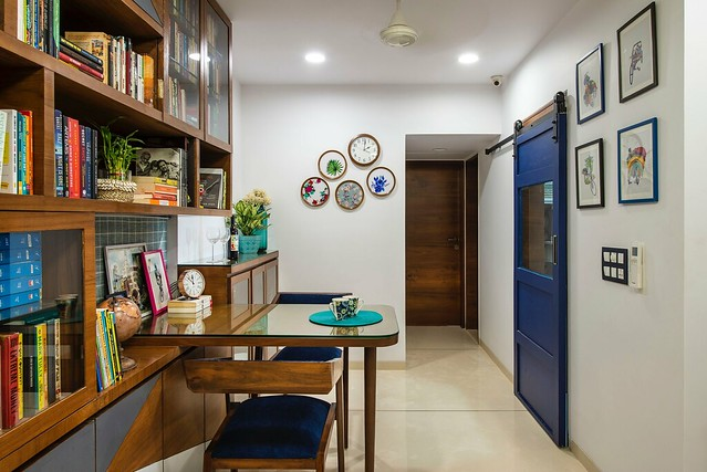 Dining and kitchen with sliding door