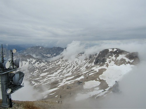 snow and clouds on summit of the Zugspitze
