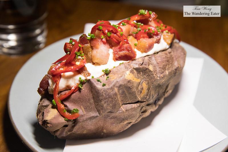 Roasted potato, crème fraîche, lardon