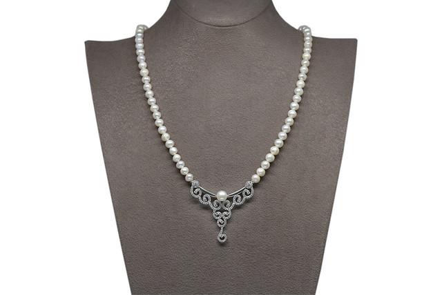 Ahsen 925K Gümüş Klipsli Doğal Beyaz inci Kolye AH-00099