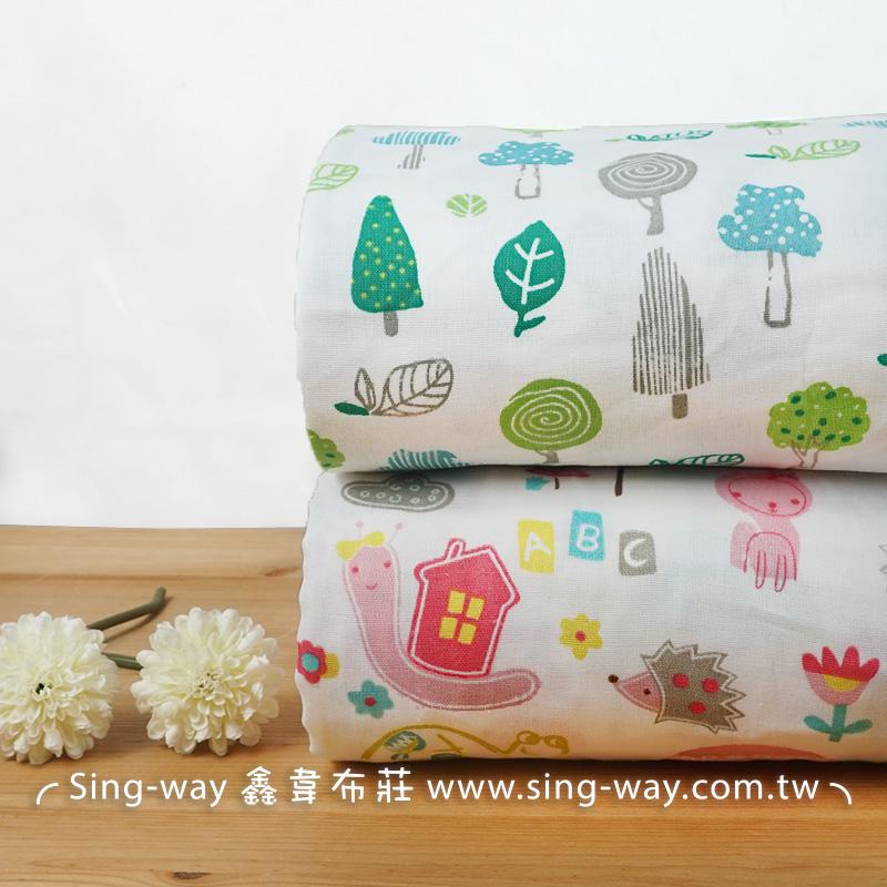 森林動物 三層紗 嬰兒紗布衣 手帕 口水巾 布料 三重紗CA890045 CA890046