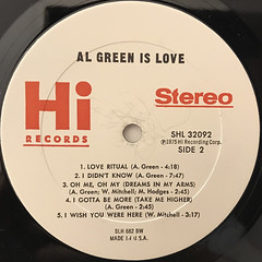 AL GREEN:AL GREEN IS LOVE(LABEL SIDE-B)