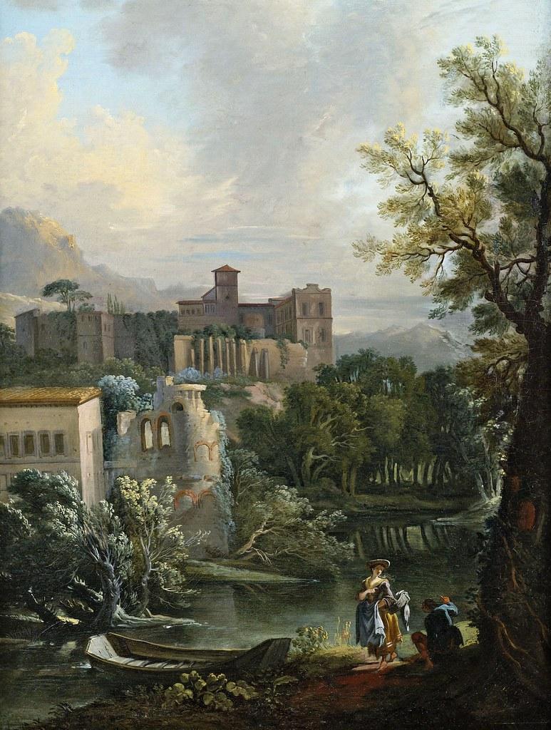 Jean-Baptiste Lallemand - Paysage fluvial d'été avec des accessoires de figurines galantes
