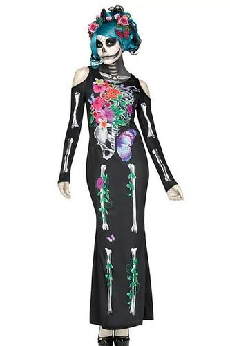 Женский карнавальный костюм Платье-скелетик