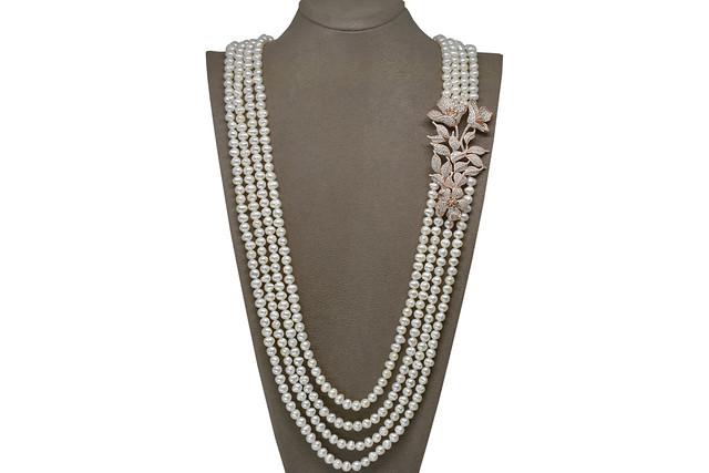Ahsen 925K Gümüş Broşlu (Rose Renkli) 4 Sıralı Doğal Beyaz inci Kolye AH-00113