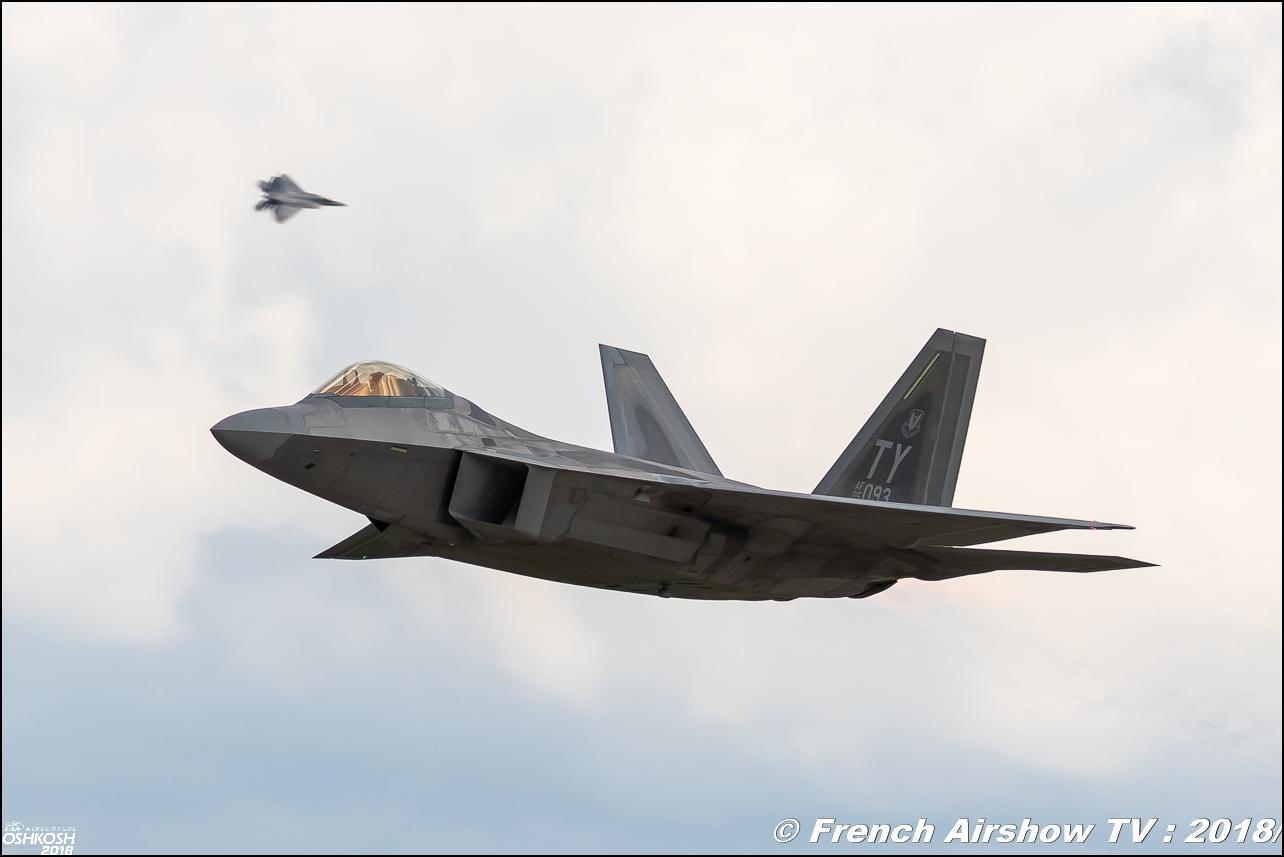 AFRC 70th Anniversary two F-22 Raptor Team USAF Review eaa oshkosh airventure airshow meeting aerien