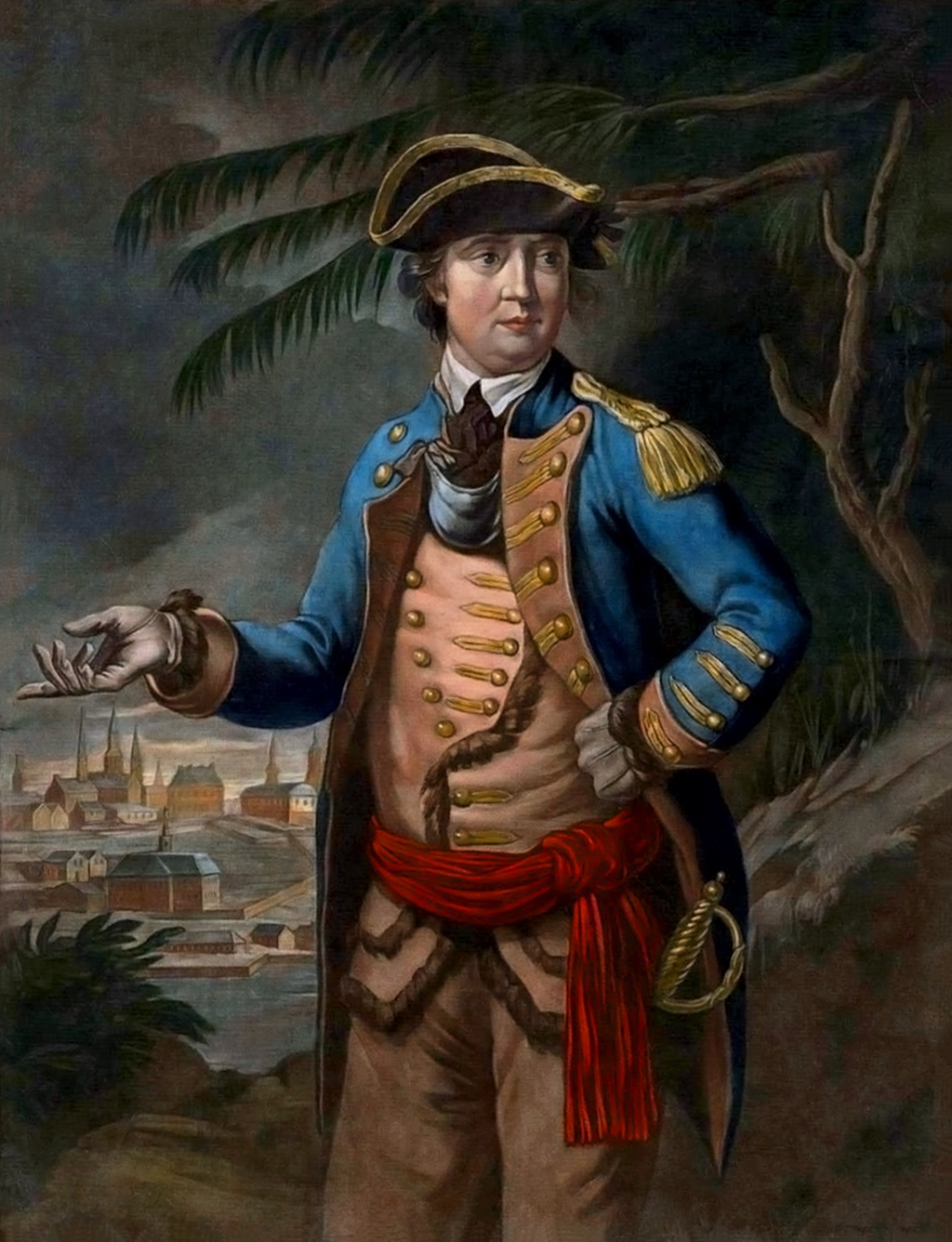 Color mezzotint by Thomas Hart depicting Benedict Arnold, captioned as follows: