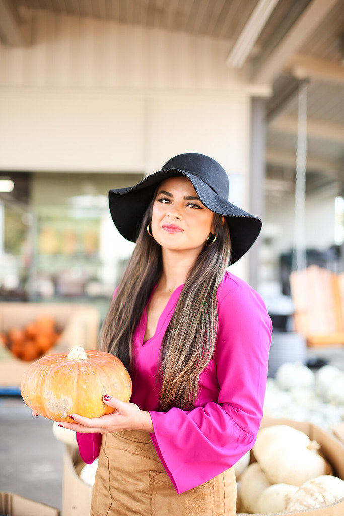 Priya the Blog, Nashville fashion blog, Nashville fashion blogger, Nashville style blog, Fall fashion, pumpkin patch outfit, what to wear to a pumpkin patch, floppy hat outfit, Rag & Bone Harrow booties, suede miniskirt, how to wear a suede miniskirt, Bell sleeve blouse, Rag & Bone