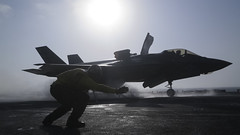 F-35B Lighting II aircraft conduct the first combat strikes from USS Essex (LHD 2).