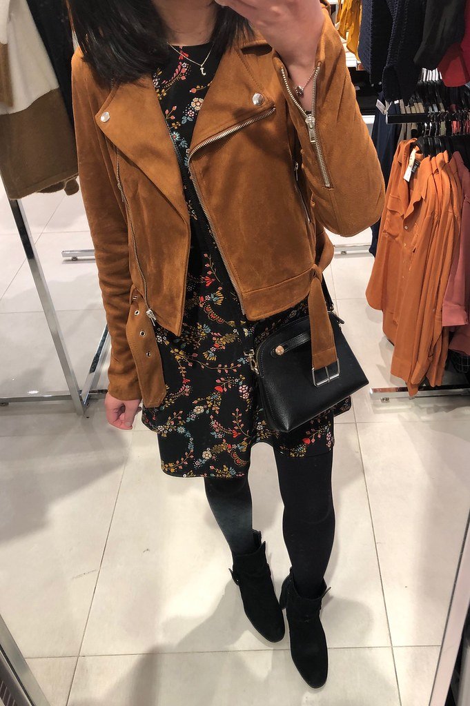 Forever 21 Faux Suede Moto Jacket in brown, size S
