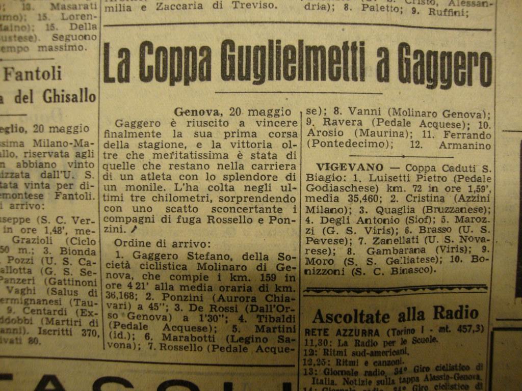 Coppa Guglielmetti 1951 - vittoria di Gaggero - sesto Marabotto