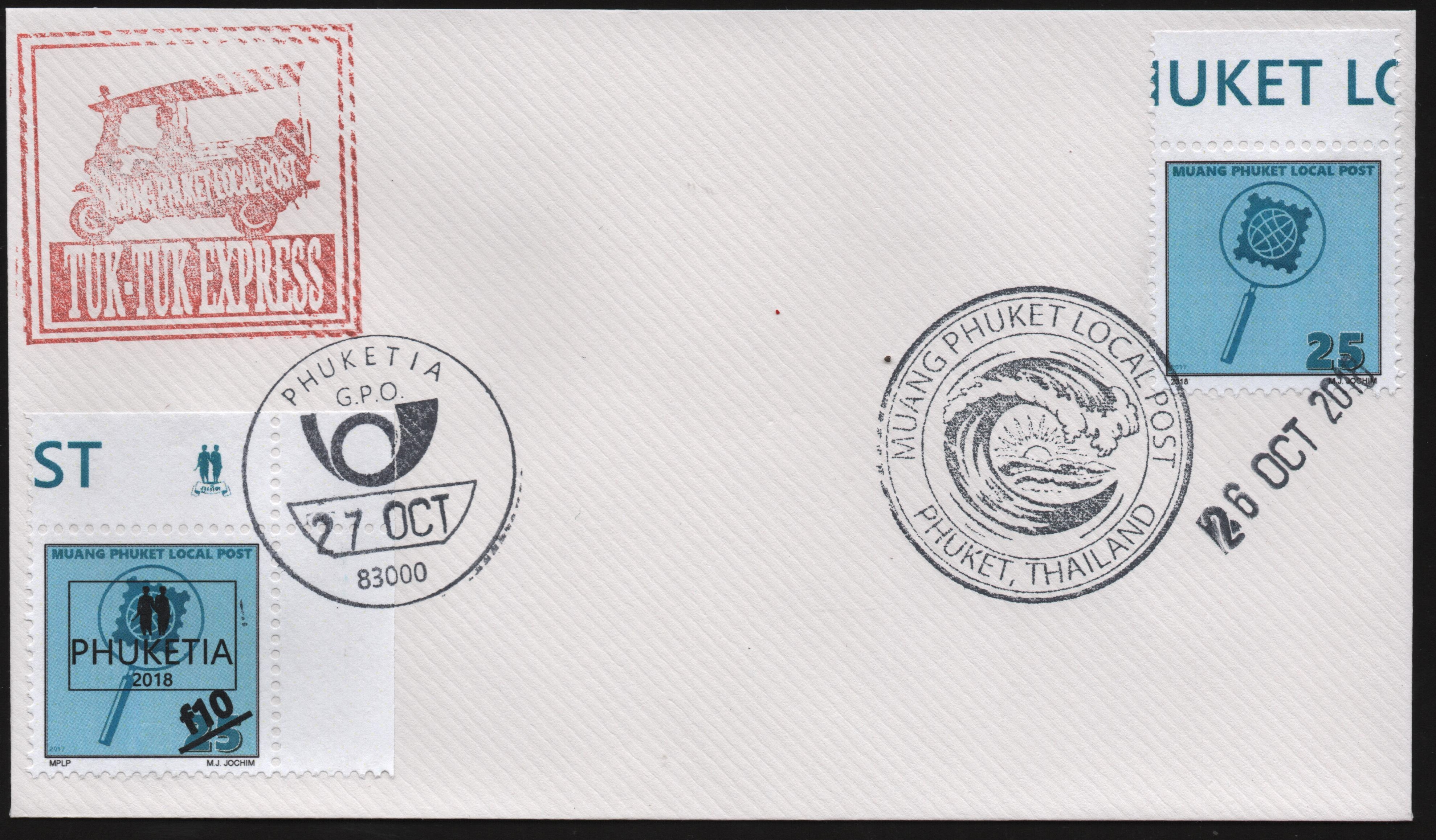 "Cover bearing the last Muang Phuket Local Post stamp (MPLP #27), ""cancelled"" on the last day before the name change to Republica Phuketia, with provisional Phuketia ""overprint"" and change in value (Phuketia #Ph28), ""cancelled"" on the first day of Phuketian postal service. Conveyed across the entire postal route via the local form of motorized rickshaw known as a tuk-tuk."