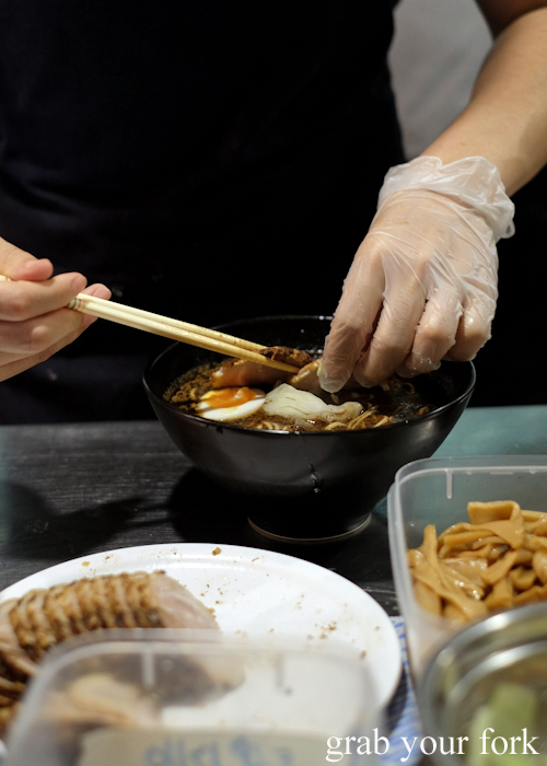 Making ramen at Gogyo by Ippudo in Surry Hills Sydney