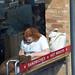 DSC_8592 London Bus Route #205 Shoreditch High Street Pret A Manger Sandwich shop Lady on the Phone