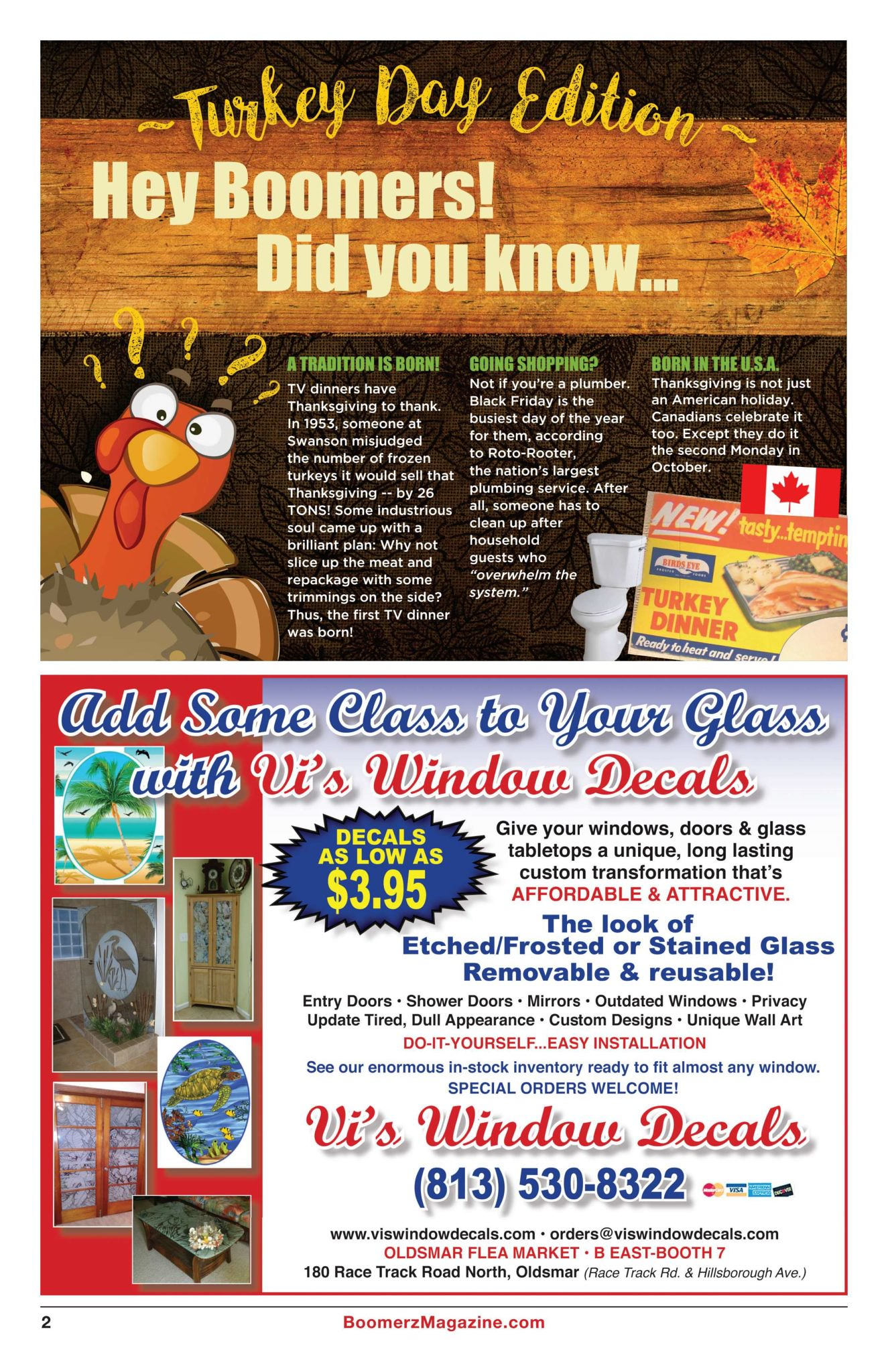 Boomerz Magazine 2018 November Page 02 Hey Boomers Did You Know Turkey Day Edition