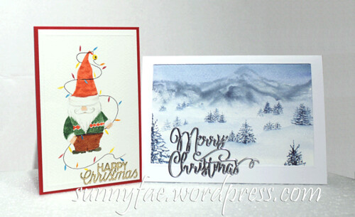 santa gnome and snow-scene cards