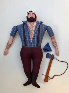 blue shirt, big man lumberjack