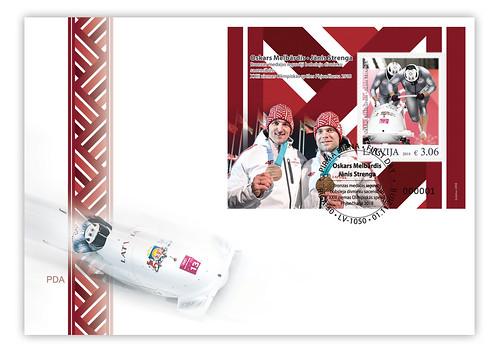 XXIII Ziemas Olimpisko spēļu medaļniekiem veltīta aploksne