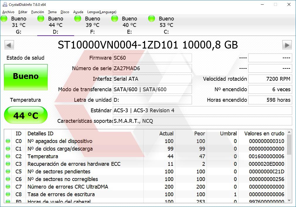 INFO HDD Seagate 10 TB estrés Overcluster