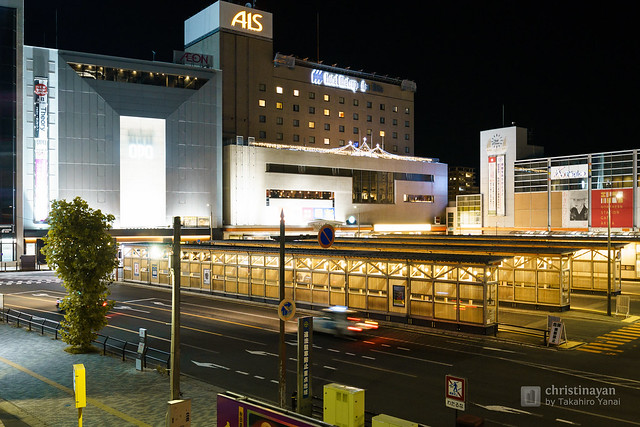 Full view of Akita Station West Exit Bus Terminal (秋田駅西口バスターミナル)