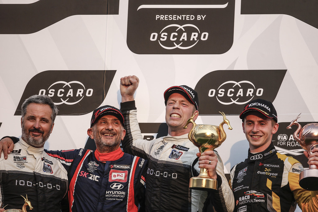 MULLER Yvan, (fra), Hyundai i30 N TCR team Yvan Muller Racing, portrait, TARQUINI Gabriele, (ita), Hyundai i30 N TCR team BRC Racing, portrait, BJORK Thed, (swe), Hyundai i30 N TCR team Yvan Muller Racing, portrait, winner race 3, DUPONT Denis, (bel), Audi RS3 LMS TCR team Comtoyou Racing, portrait during the 2018 FIA WTCR World Touring Car cup of China, at Ningbo  from September 28 to 30 - Photo Jean Michel Le Meur / DPPI