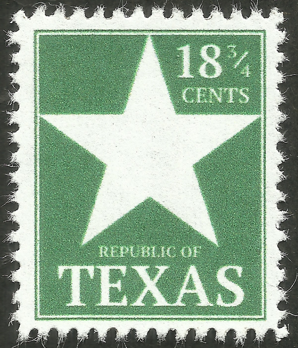 Fantasy stamp for the Republic of Texas, with a denomination based upon rate regulations established in 1836.