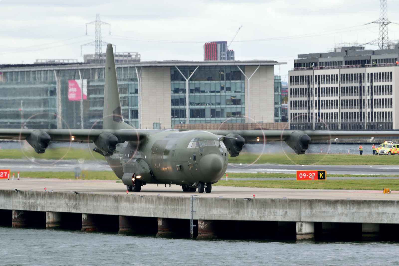 RAF C130J pays first visit to London City Airport on 02/10