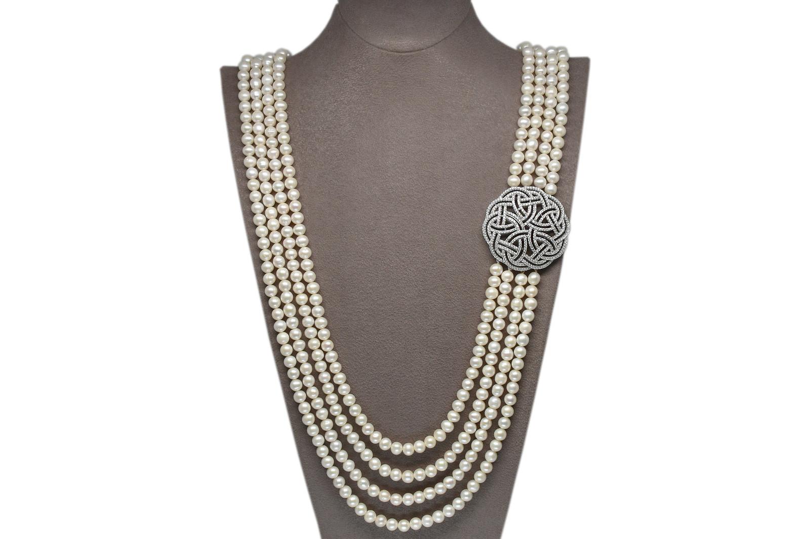 - Ahsen 925K Gümüş Broşlu 4 Sıralı Doğal Beyaz inci Kolye AH-00100