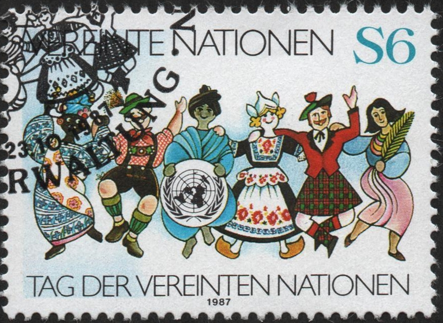 United Nations Offices in Vienna - Scott #75 (1987), upper left FDOI cancellation