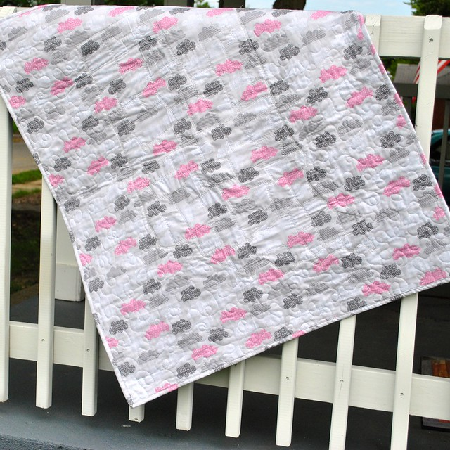 Pink and grey quilt back