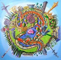 naive painting of tel aviv city israel  כדור תל אביב אתרים מפורסמים בעיר תל אביב  רפי פרץ