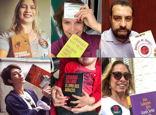 Famosos e anônimos foram às urnas neste domingo munidos de livros, em defesa da democracia - Créditos: Foto: Instagram