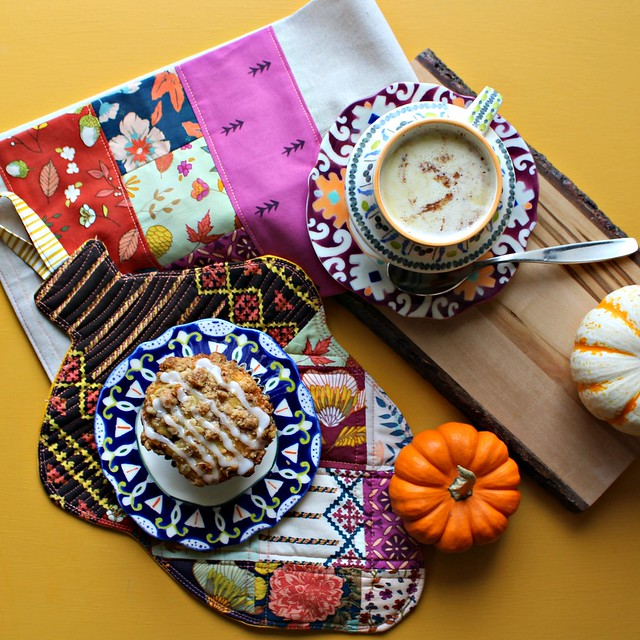 Autumn Vibes Tea Towel and Acorn Patchwork Trivet