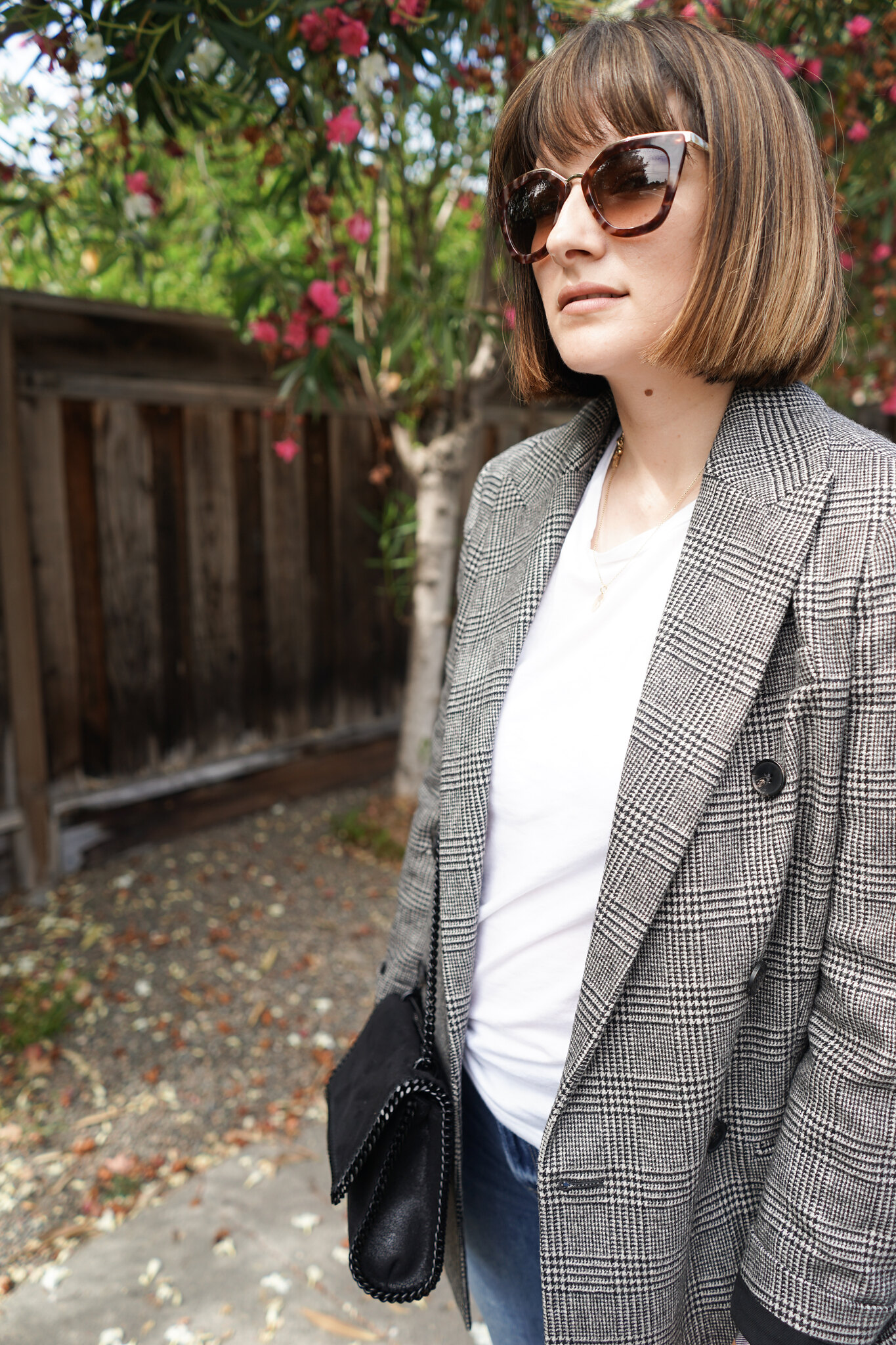 Allsaints, check blazer, Fall fashion, double-breast blazer, check print, ootd, mom fashion , mom blogger, autumn, mommy blog, Stella McCartney, Falabella bag