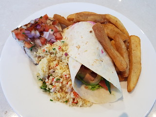 Lunch - Bruschetta, vegie wrap, cous cous salad, and fries