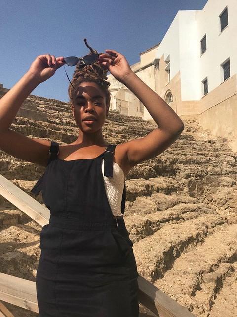 Student standing in front of Roman museum in Cadiz
