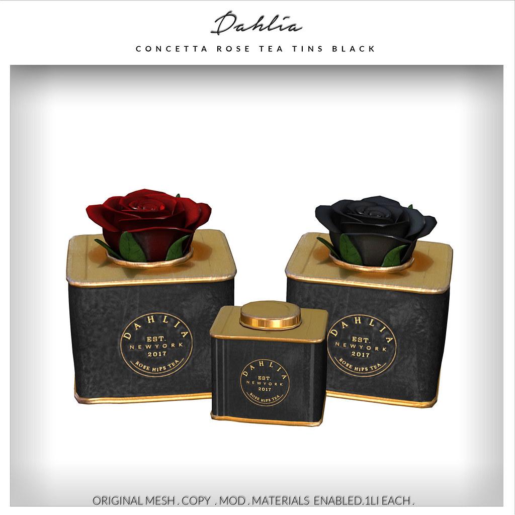 Dahlia - Concetta - Rose Tea Tins - Black - TeleportHub.com Live!