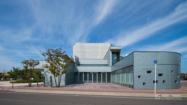 The facade of Yurihonjo City Cultural Center KADARE (由利本荘市文化交流館 カダーレ)