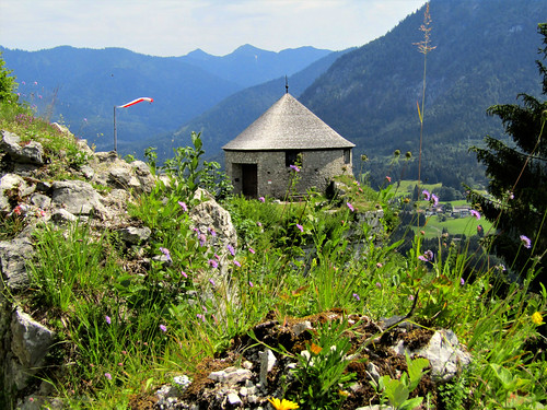 view of tower at Ehrenberg Castle and Alps in the background