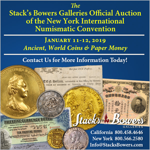 Stacks-Bowers E-Sylum ad 2018-11-04 NYINC